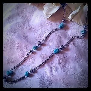 Vintage Turquoise Nugget & Mirror Bead Necklace